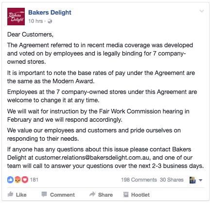bakers-delight-response-to-social-outcry-due-to-low-wages-and-the-companies-certified-agreement-january-2017