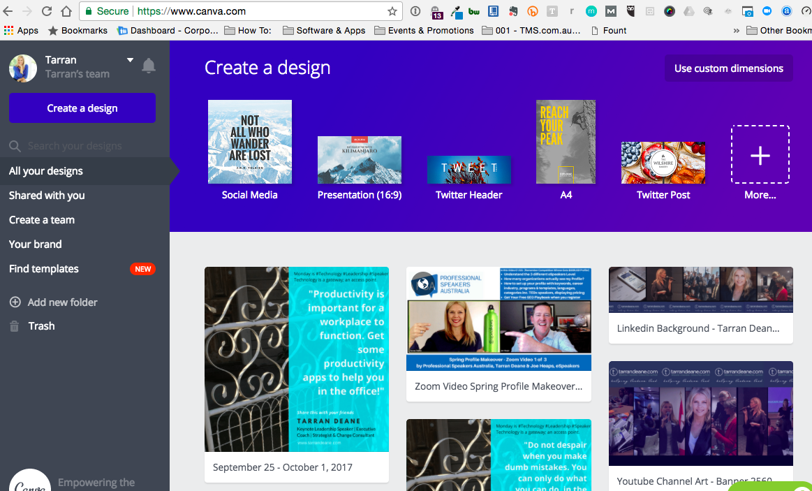 Create Your Canva Account & Login. Notice the PLUS sign on the top right hand? Click this to open up more template size options- by @tarrandeane #Leadingonline #online #Leadership.png