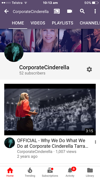Youtube Banner made by Canva Now how does it look on the iPhone 6 Youtube upload by @TarranDeane #corporatecinderella #online #Leadership #professionalspeaker #changemanagement #communicationstrategies .png