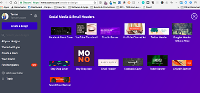 You've clicked on the PLUS sign and scrolled down the page. Now you can see the Social Media & Email Headers. Select Youtube Channel Art and Voila! Click and begin designing by @tarrandeane #Leadingonline #online #Leadership #canva #howto